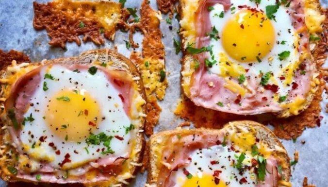 Brokastu karstmaizes ar šķiņķi, sieru un olām