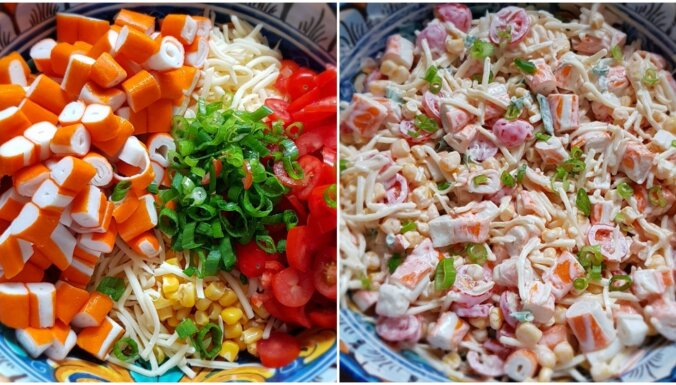 Fiksie krabju salāti ar sieru, tomātiem un kukurūzu