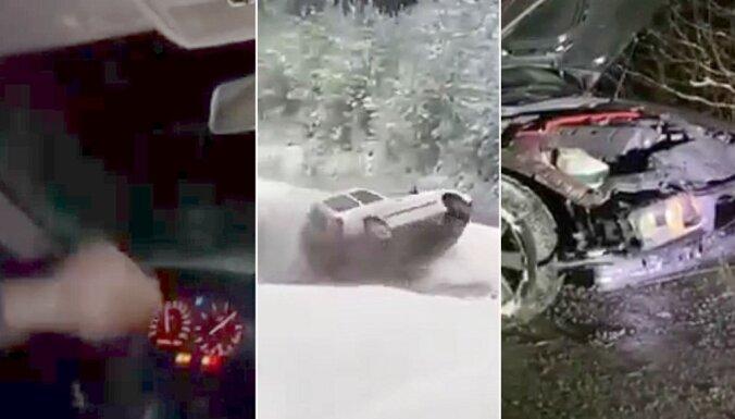 Video: Driftēšana piektdienas bagātīgajā sniegā vairākiem autovadītājiem beidzas ar avāriju