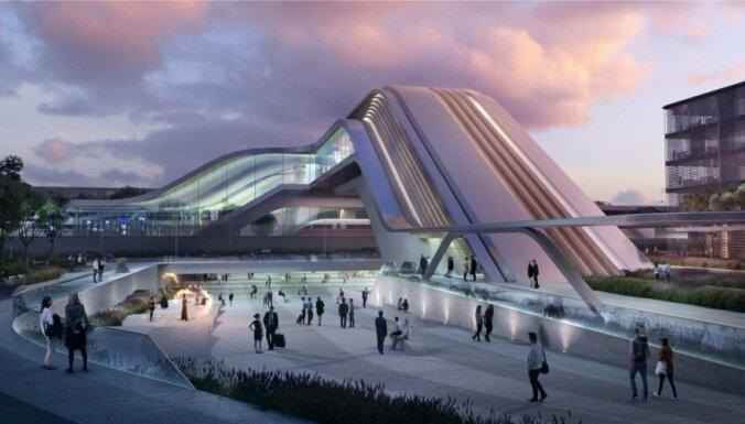 Foto: Noskaidrotas labākās arhitektu idejas 'Rail Baltica' terminālim Tallinā
