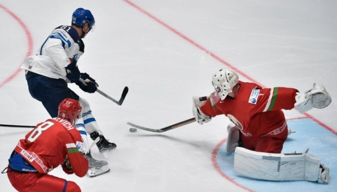Talantīgais Laine un Granlunds 'spīd' Somijas uzvarā pār Baltkrieviju