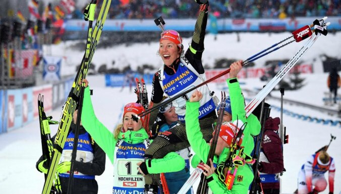 German Laura Dahlmeier celebrates victory women 4x6 km relay