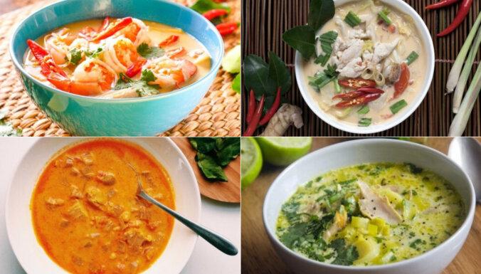 Krēmīgas zupas ar eksotisku garšu: 13 receptes ar kokosriekstu pienu