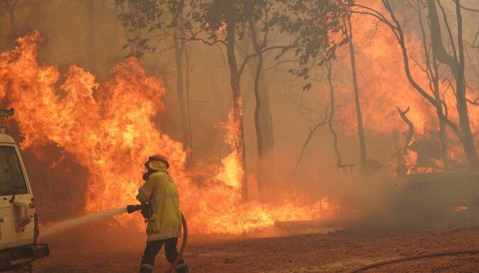 Foto: Pērtas apkaimē plosās savvaļas ugunsgrēki