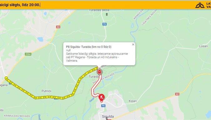 Atjaunota satiksme uz autoceļa Inciems-Sigulda-Ķegums posmā pie Turaidas