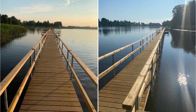 Pastaigu mīļotājiem atvērts jaunais pontonu tilts Ludzā