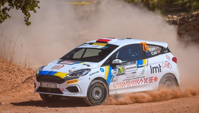Sesks un Caune junioru WRC klases Sardīnijas rallijā sestie pēc pirmās dienas