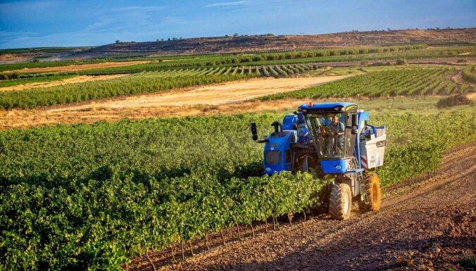Foto: Spānijā ar kombainiem novāc vīnogu ražu