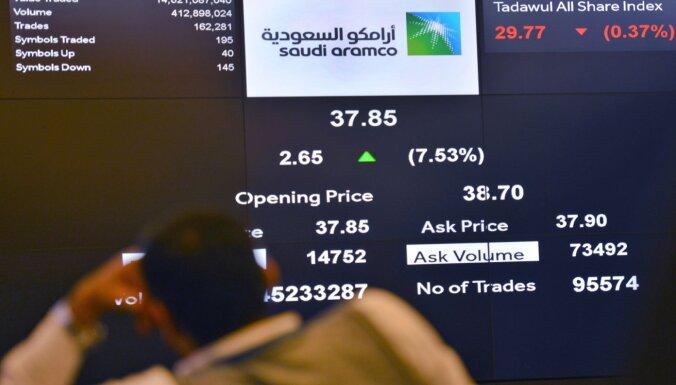 Dienu pēc debijas biržā 'Saudi Aramco' tirgus vērtība pārsniegusi divus triljonus dolāru