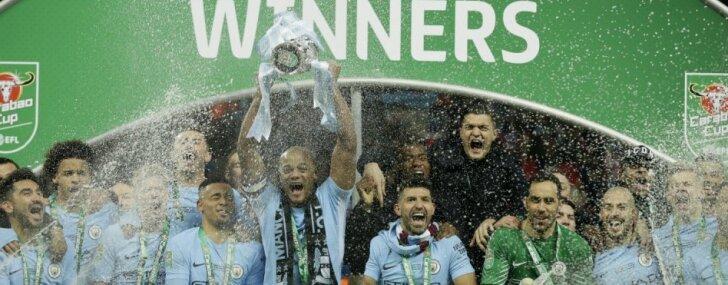 Mančestras 'City' uzvar 'Arsenal' un iegūst Anglijas Līgas kausu