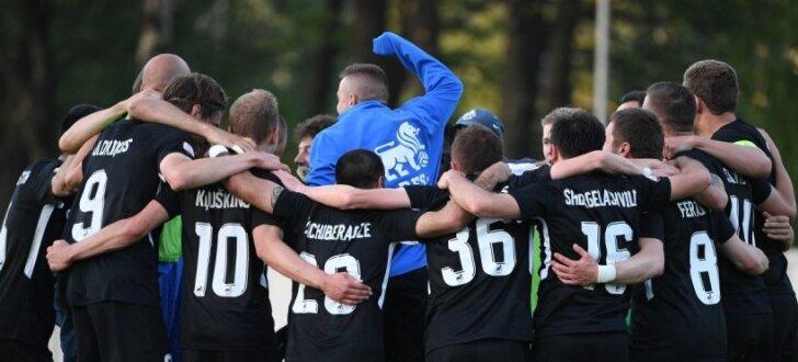Foto: Uldriķis kompensācijas laikā nodrošina RFS futbolistu uzvaru pār 'Riga'