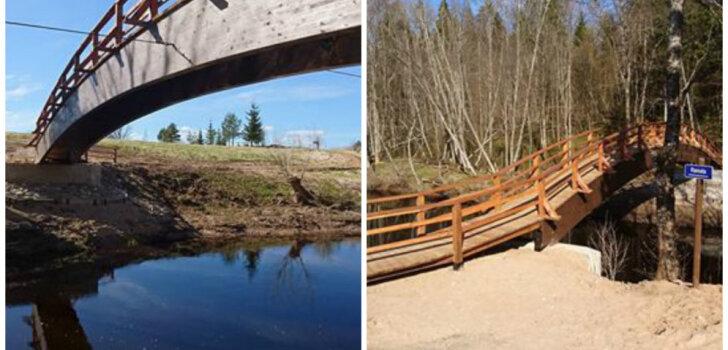 Atkal droši izejama interesantā Dauģēnu dabas taka; tapis jauns tilts