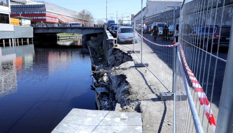 Рига не приведет в порядок набережную канала у Центрального рынка, рухнувший участок отремонтируют