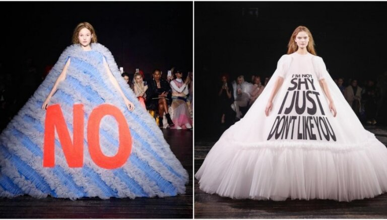 Populārākās interneta mēmes pārtop augstās modes tērpos