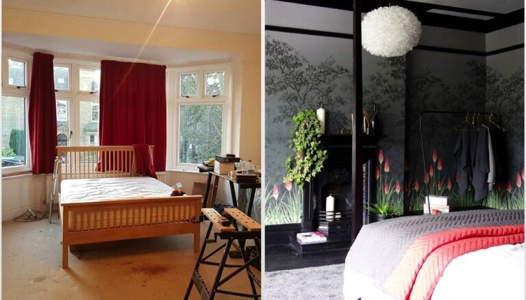 Krāsaināk un funkcionālāk: skaistas guļamistabu pārvērtības