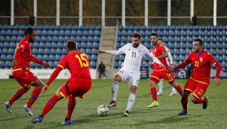 Latvijas futbola izlase UEFA Nāciju līgas pēdējā spēlē nospēlē neizšķirti ar Andoru