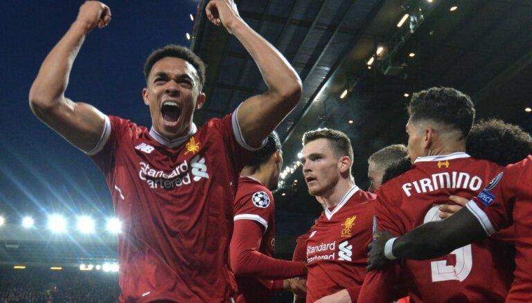 'Liverpool' un 'Barcelona' pārliecinoši uzvar UEFA Čempionu līgas ceturtdaļfināla pirmajās spēlēs