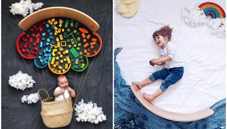 Radošs acu apmāns: divu bērnu mamma uz grīdas rada neikdienišķas fotogrāfijas