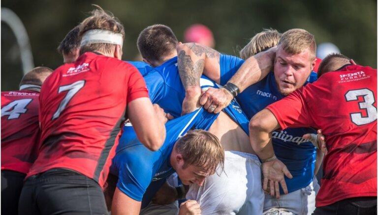Foto: 'Stats/Ķekava' un 'LMT/Eži' uzvar Latvijas regbija čempionāta spēlēs