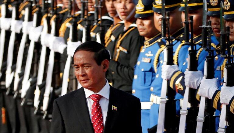 Mjanmas armija pirms apvērsuma centusies piespiest prezidentu atkāpties no amata