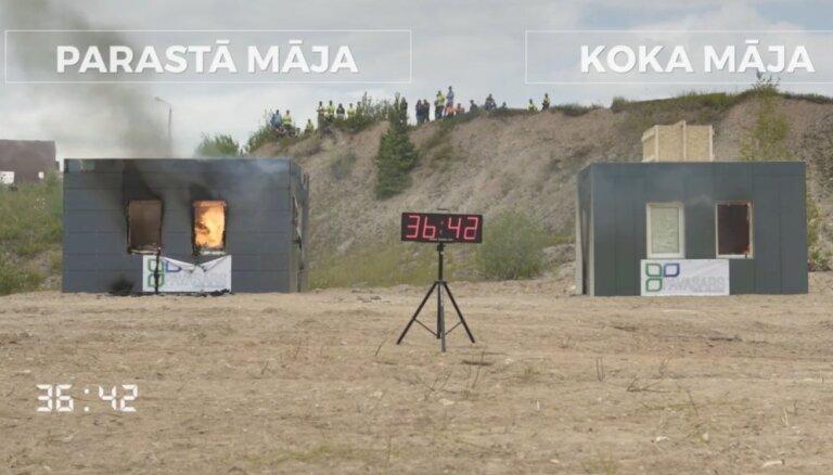 Koks pret mūri: video eksperiments ar māju ugunsizturību