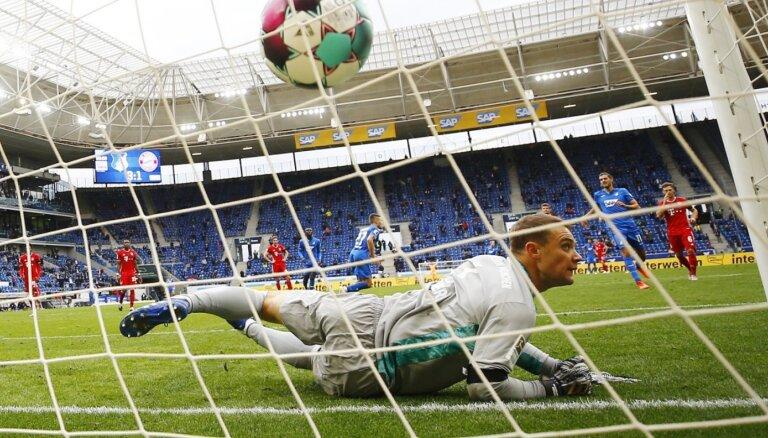 'Hoffenheim' pārtrauc Minhenes 'Bayern' 23 uzvaru sēriju