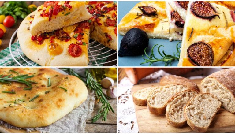 Itāliešu maizes – fokača un čabata: 10 receptes mājās ceptiem kukulīšiem