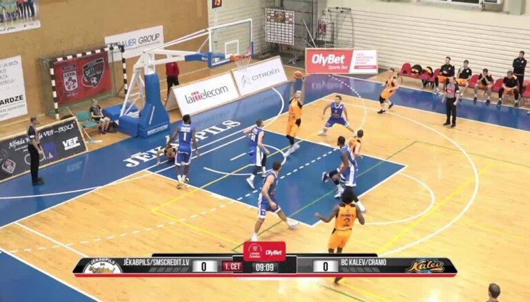 'OlyBet' basketbola līga: 'Jēkabpils/SMScredit.lv' - 'Kalev/Cramo'. Spēles labākie momenti