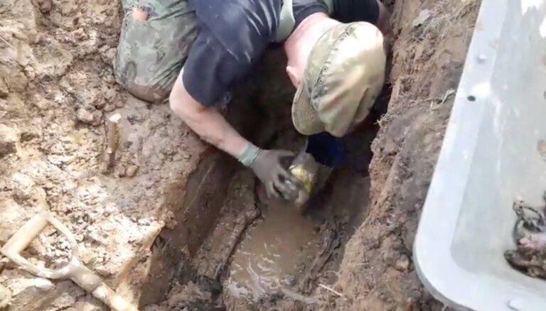 ВИДЕО: В Вангажи возле Сигулдского шоссе нашли останки немецких солдат