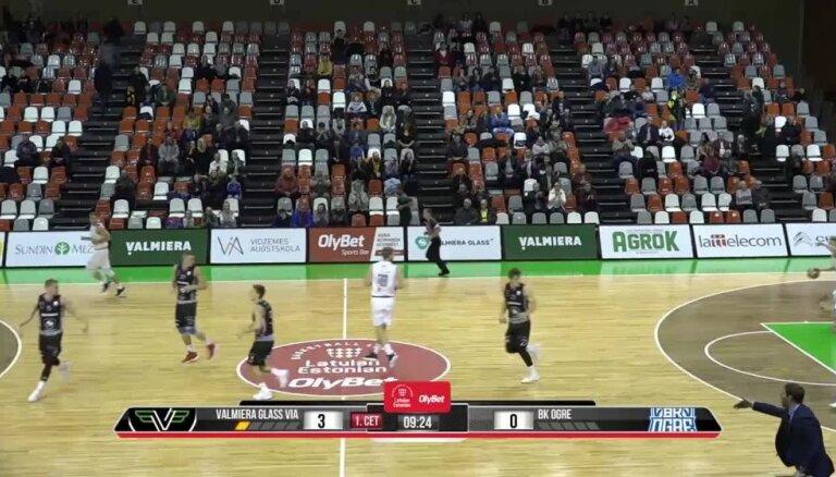 'OlyBet' basketbola līga: 'Valmiera glass/ViA' - 'Ogre'. Spēles labākie momenti