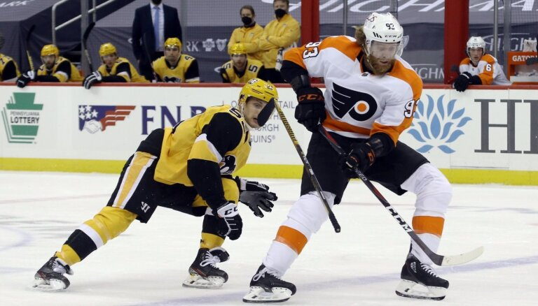 Bļugers un 'Penguins' nenotur trīs vārtu pārsvaru un zaudē 'Flyers'