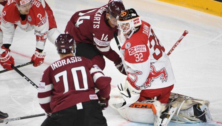 Хоккеисты Латвии начинают чемпионат мира с сухой победы над Данией