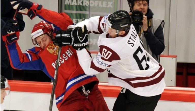 Latvijas hokejisti svētkos pasaules čempionātu sāk ar spēli pret Krieviju