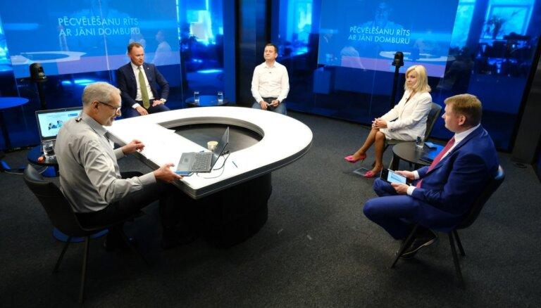'Pēcvēlēšanu rīts ar Jāni Domburu': lielāko partiju politiķu diskusija - LZP, LZS, LRA un 'Saskaņa'