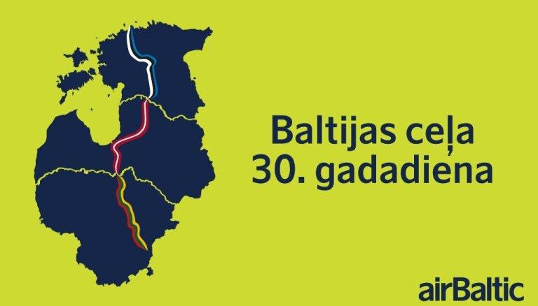 airBaltic atzīmē Baltijas ceļa 30. gadadienu ar unikālu dāvanu. Tiešraides sākums 14.50