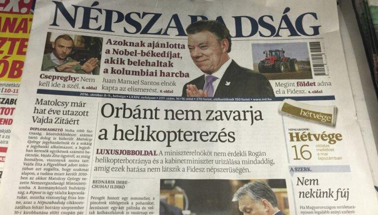 Ungārijas opozīcijas laikraksta izdevēju nopērk valdībai tuva firma