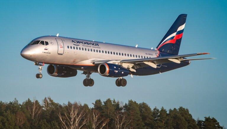 Lidostā 'Rīga' paaugstinātas drošības apstākļos nolaidusies 'Aeroflot' lidmašīna