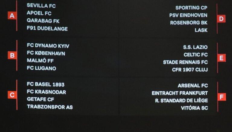 Dubra UEFA Eiropas līgas apakšgrupā tiksies ar Vācijas, Francijas un Beļģijas komandām