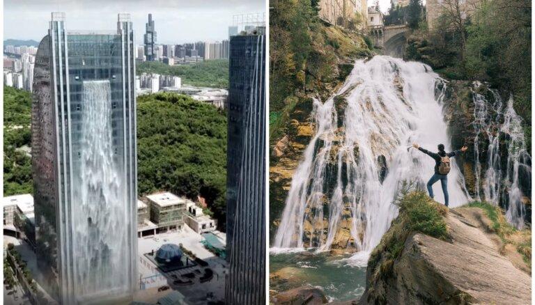 Pie debesskrāpja sienas vai bezdibeņa malā: pieci savdabīgi ūdenskritumi