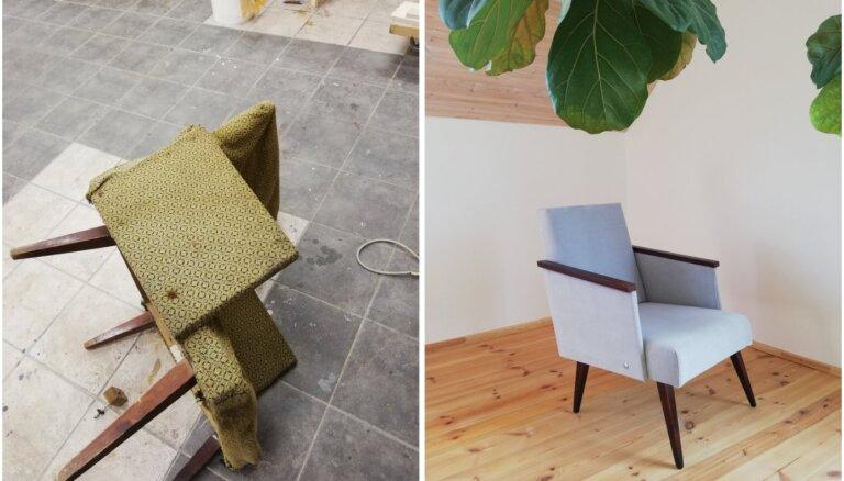 Pirms un pēc: 50 gadus sena vecmammas krēsla brīnumainās pārvērtības