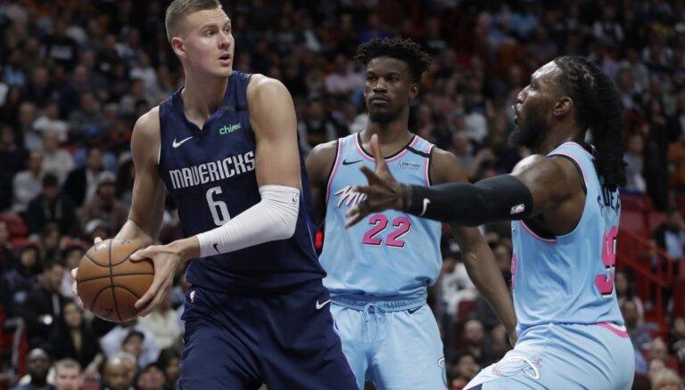 Porziņģis gūst 24 punktus 'Mavericks' zaudējumā pret 'Heat'