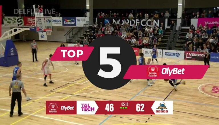 'OlyBet' Latvijas-Igaunijas Basketbola līgas nedēļas TOP 5 (07.01.2019.)