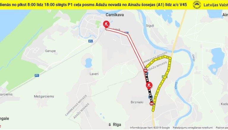 Slēdz satiksmi autoceļa Carnikava–Ādaži posmā