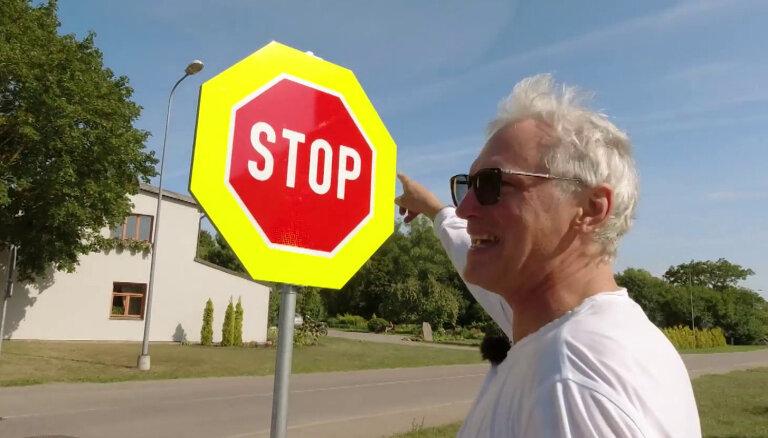 'Zebra': Grobiņā kā Amerikā – krustojumā četras 'Stop' zīmes
