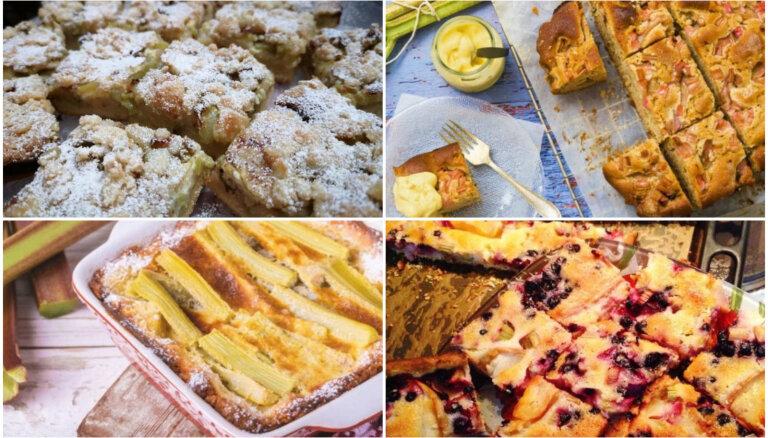 Mājīgās rabarberu plātsmaizes: 18 sulīgas receptes ikdienai un svētkiem
