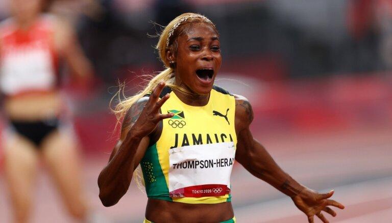 Tompsone-Hera 100 metru finālā lauž 33 gadus vecu olimpisko rekordu