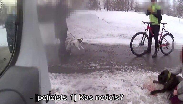 Video: Policisti uz gājēju pārejas notriektu suni nogādā klīnikā