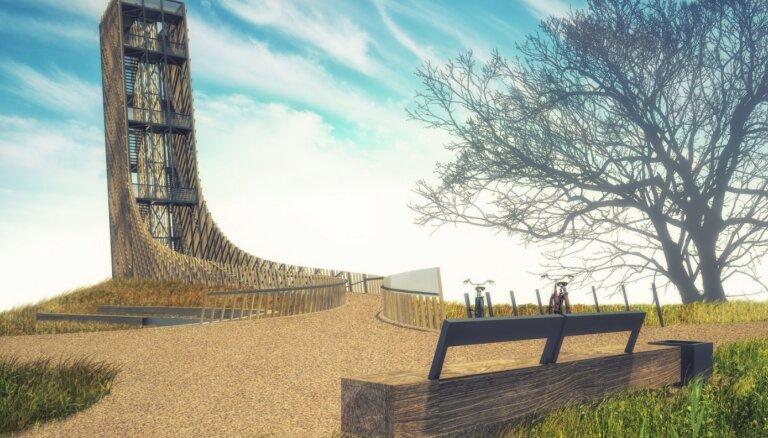 ФОТО. В Кулдиге планируют построить смотровую вышку и канатную дорогу через Венту