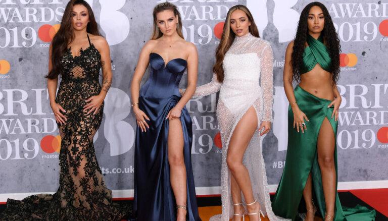 Foto: Popzvaigžņu elegance un bezgaumība britu mūzikas balvas ceremonijā