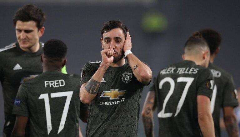 Mančestras 'United' un Totenhemas 'Hotspur' Eiropas līgas 1/16 fināla pirmajās spēlēs viesos svin graujošas uzvaras